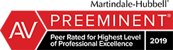 The AV Preeminent Rating is the pinnacle of professional excellence earned through a strenuous Peer Review Rating process that is managed and monitored by the world's most trusted legal resource, Martindale-Hubbell